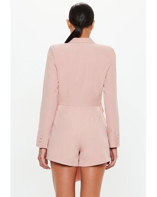 51e6c4d822 ... Missguided - Pink Peace + Love Rose Tuxedo Blazer Playsuit - Lyst ...