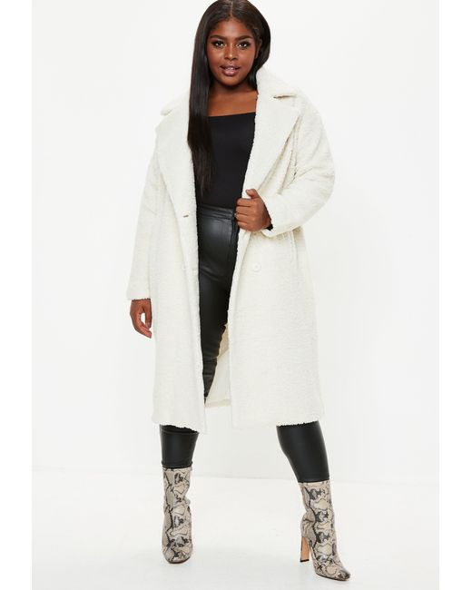8a17b332c07 Missguided - Natural Plus Size Cream Longline Teddy Coat - Lyst ...