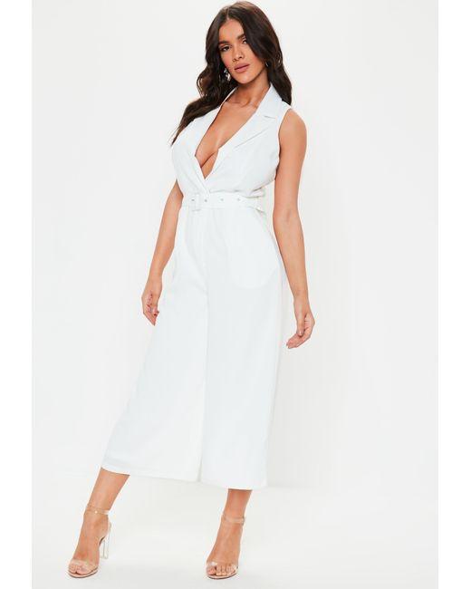 7e3e380844f9 Missguided White Sleeveless Culotte Blazer Jumpsuit in White - Lyst