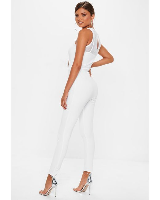 f70d0b222813 Lyst - Missguided White Fishnet Top Jumpsuit in White