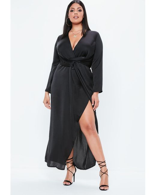 Missguided - Plus Size Black Satin Thigh Split Wrap Maxi Dress - Lyst