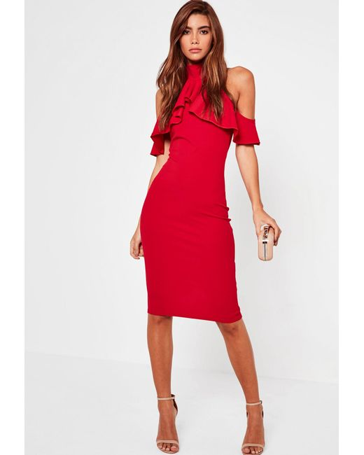 87090d4cc6362 ... Missguided - Red Frill Cold Shoulder Bodycon Midi Dress - Lyst ...