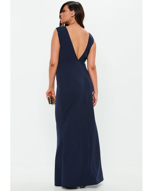 6c0d9bb5952 ... Missguided - Blue Plus Size Navy V Plunge Maxi Dress - Lyst