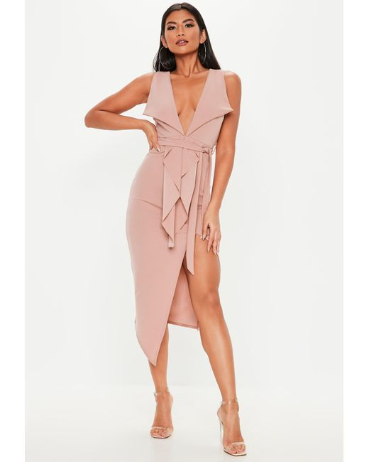 cfc5ec76a8 Lyst - Missguided Pink Plunge Tailored Wrap Tie Midi Dress in Pink