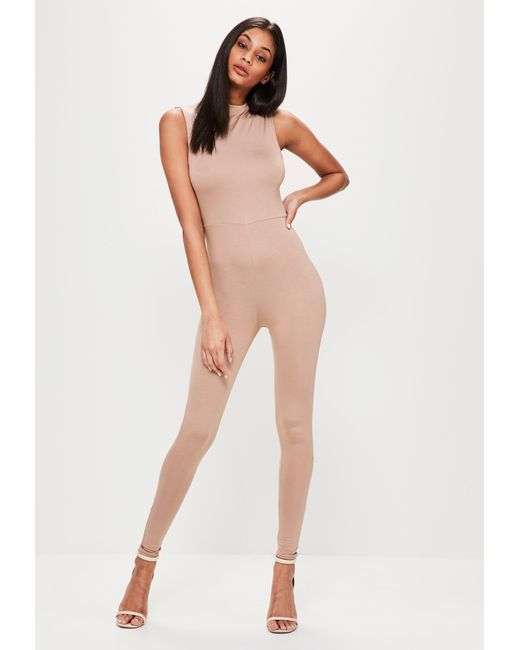Missguided | Natural Nude High Neck Sleeveless Slim Jumpsuit | Lyst