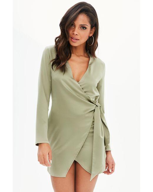 Missguided - Green Khaki Silky Wrap Shirt Dress - Lyst