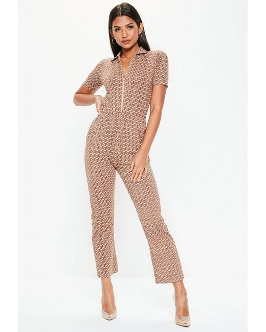 7e12a7bf2b1 Missguided - Natural Nude Printed Short Sleeve Zip Jumpsuit - Lyst ...
