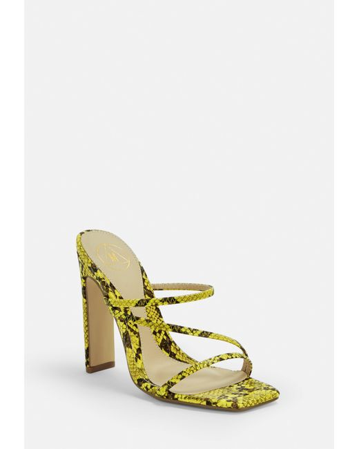 68dd4cfdad Lyst - Missguided Yellow Snake Multi Strap Mules in Yellow