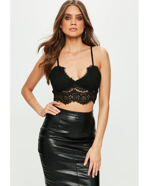 c351ebe357 Lyst - Missguided Black Corded Lace Bralette in Black