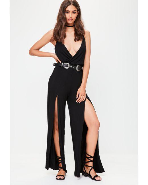 Missguided | Black Wrap Wide Leg Jumpsuit | Lyst