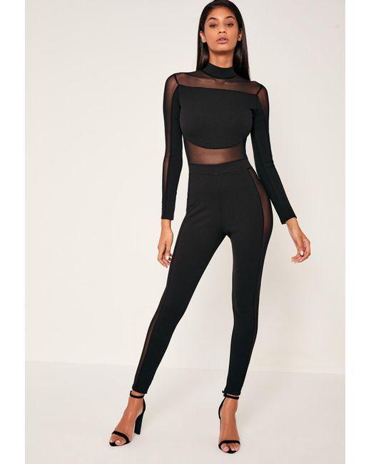 Missguided - Black Mesh Panel High Neck Jumpsuit - Lyst
