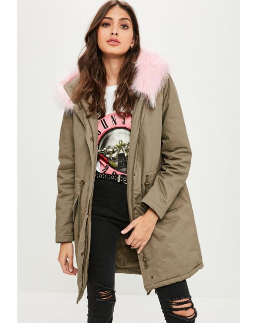 Missguided - Natural Khaki Faux Fur Trim Parka Coat - Lyst