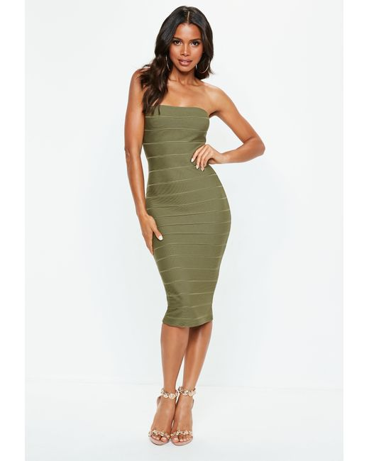 2c91d42c73 Missguided - Green Khaki Bandeau Bandage Midi Dress - Lyst ...