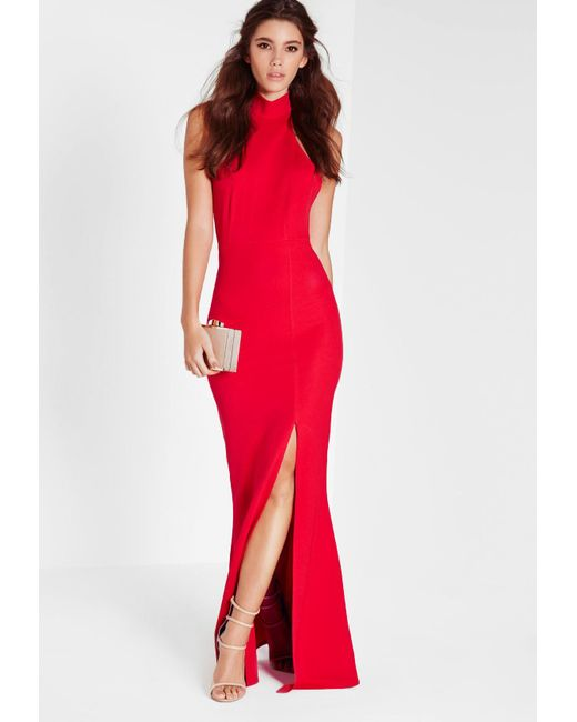e38f7f5ecd Lyst - Missguided Red Choker Maxi Dress in Red - Save 47%