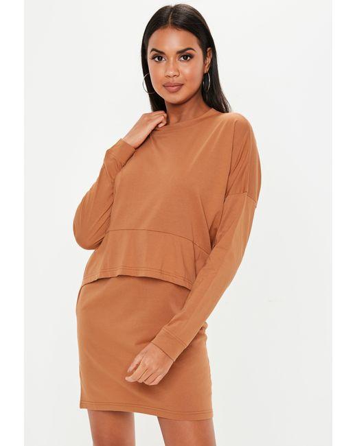 0fda09e60f Missguided - Brown Rust Jersey Overlay T Shirt Dress - Lyst ...