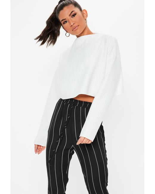1b093f40375 Lyst - Missguided White Ribbed High Neck Cropped Sweatshirt in White