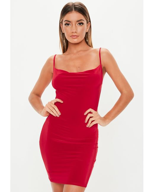 2d2888d8ac3a Lyst - Missguided Red Slinky Cowl Neck Mini Dress in Red
