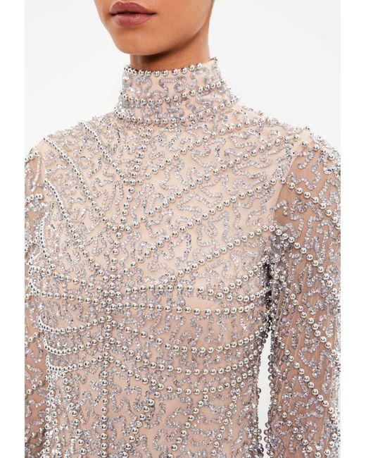 0ad29b45f8 ... Missguided - Metallic Peace + Love Silver High Neck Long Sleeve Beaded  Mini Dress - Lyst ...
