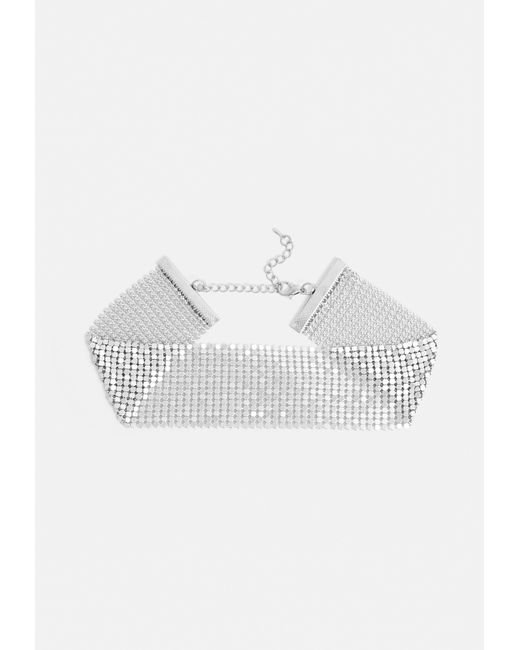 Missguided - Metallic Silver Chainmail Choker Necklace - Lyst