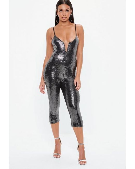 d482670edd1 Missguided Black Sequin Disc V Front Jumpsuit in Black - Lyst