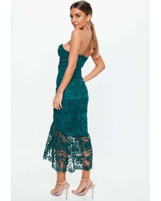 be6f1af51f ... Missguided - Blue Teal Lace Bandeau Bust Cup Midi Dress - Lyst