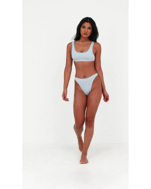 ab102462b001 Missguided Blue Mix And Match Rib Scoop Neck Bikini Top in Blue - Lyst