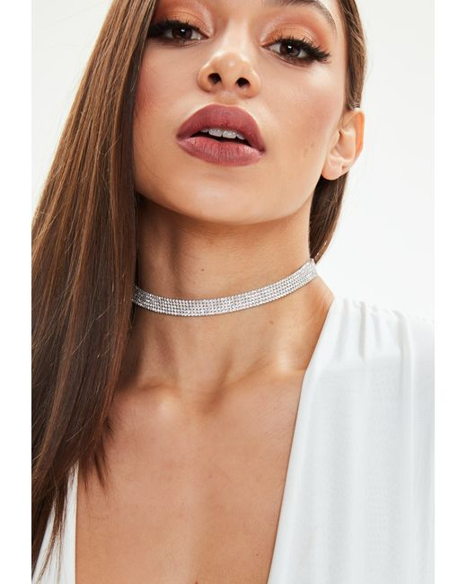 Missguided - Metallic Silver Shinny Rhinestone Choker Necklace - Lyst