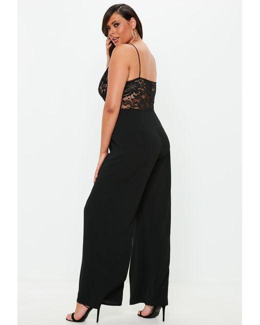 fb4b6c8f5279 Lyst - Missguided Plus Size Black Lace Plunge Wide Leg Jumpsuit in Black