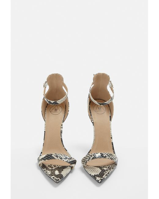 8e52d070aaa ... Missguided - Natural Nude Snake Print Pointed Barely There Heels - Lyst  ...
