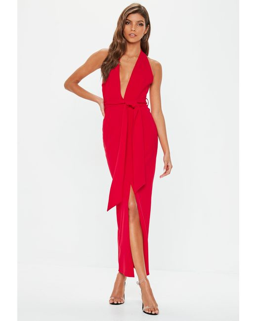 Lyst - Missguided Red Plunge Tie Waist Midaxi Dress in Red bd48afb7a