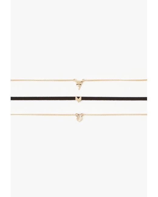 Missguided   Metallic Gold Arrow Detail Three Pack Choker Set   Lyst