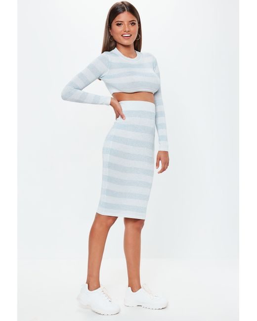 610c27f8b Missguided - Blue Striped Glitter Metallic Knitted Co Ord Midi Skirt - Lyst  ...