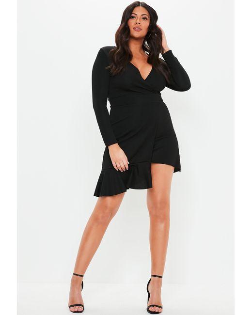 219fc4128ce ... Missguided - Plus Size Black Frill Hem Mini Dress - Lyst ...