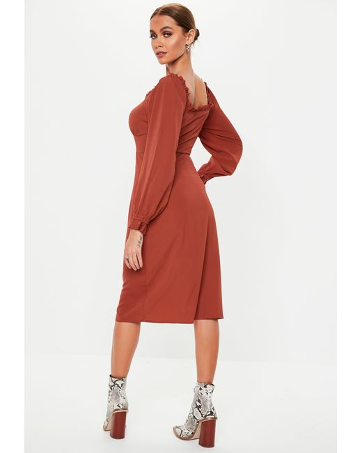 7ef55c4c2e2 ... Missguided - Red Rust Button Down Midi Milkmaid Dress - Lyst ...