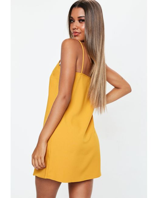 75e981097a ... Missguided - Yellow Tall Mustard Crepe Cami Shift Dress - Lyst ...