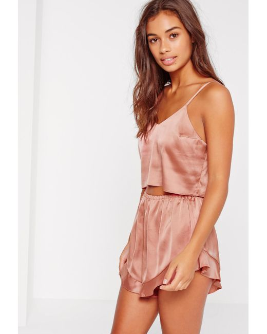 Missguided | Cropped Cami Pj Set Pink | Lyst