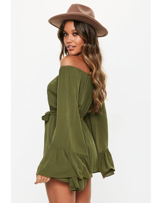 1e470fa668f ... Missguided - Green Khaki Flare Sleeve Bardot Playsuit - Lyst