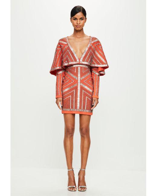 Lyst - Missguided Peace + Love Orange Kimono Embellished Dress in ...