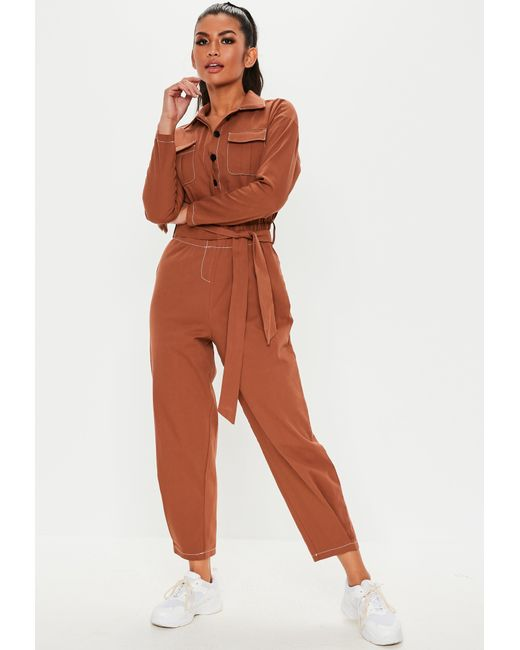 b503dfdd299f Missguided - Brown Rust Long Sleeve Belted Utility Jumpsuit - Lyst ...