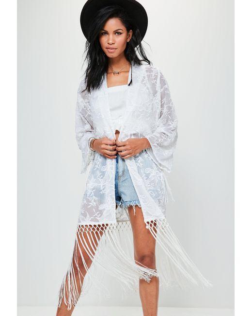 Missguided | Premium White Tassel Embroidered Kimono | Lyst