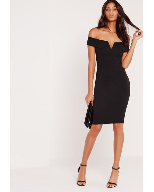 96a362a4c04d Missguided V Front Bardot Midi Dress Black in Black - Save 34% - Lyst