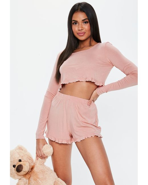 6feb16523dca Missguided Pink Long Sleeve Crop Frill Short Pyjama Set in Pink - Lyst