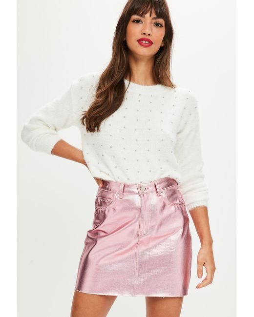 Missguided - White Longline Fluffy Studded Jumper - Lyst
