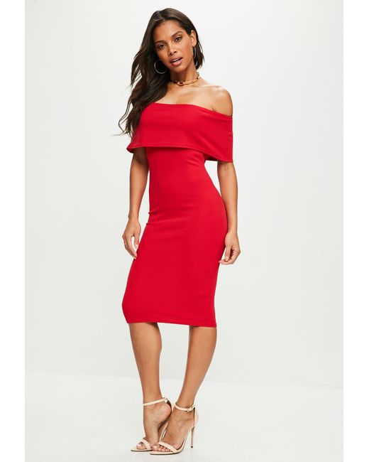 Missguided - Red Cut Out Midi Dress - Lyst
