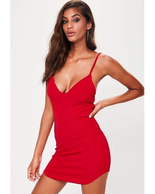 8f4fdb2689e1 Missguided Petite Red Strappy Plunge Bodycon Dress in Red - Save ...