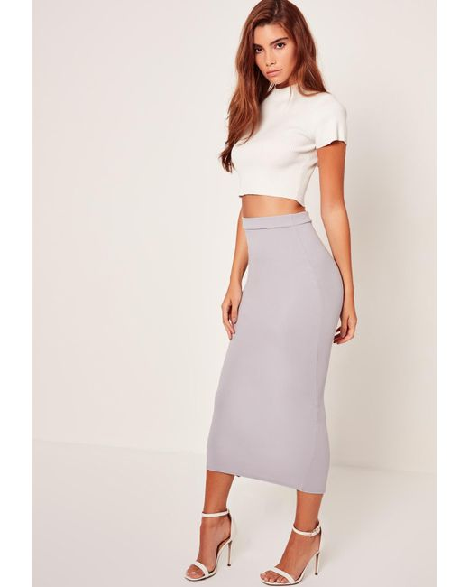 missguided crepe midi pencil skirt grey in gray lyst