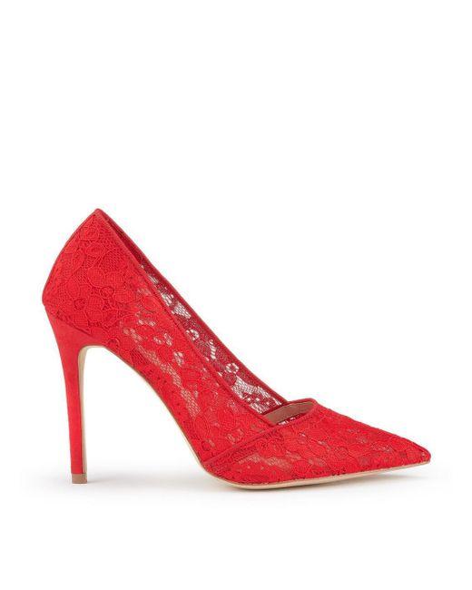 Miss Selfridge - Red Lori Lace Heel Court Shoes - Lyst