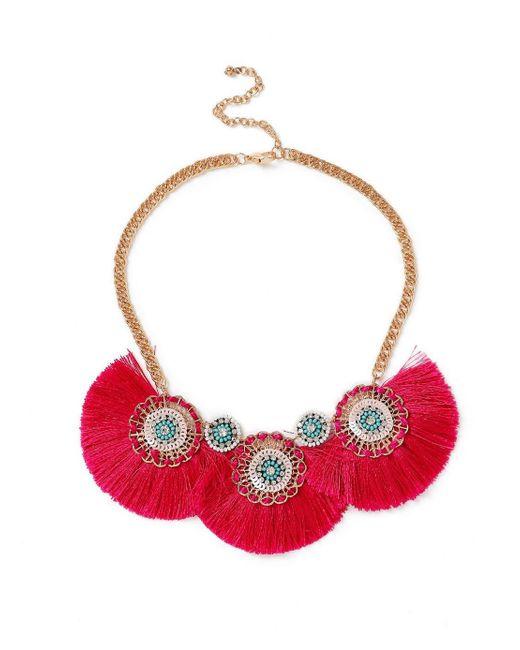 Miss Selfridge - Pink Fringe Collar - Lyst