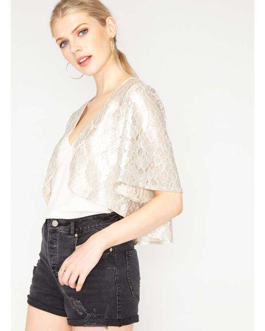Miss Selfridge   Multicolor Premium Metallic Lace Cropped Jacket   Lyst