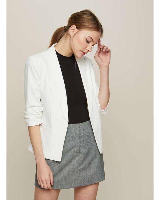60793e5efa717 Miss Selfridge - White Ivory Ruched Sleeve Ponte Jacket - Lyst ...